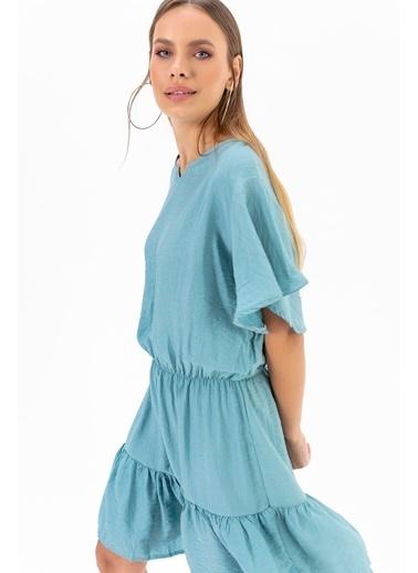Emjey Kolu Volanlı Elbise Mavi